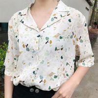 koreanische blüten-chiffon-bluse großhandel-Harajuku Floral bedruckte Frauen Bluse Tops Korean Sommer Kurzarm Turn-down V-Ausschnitt Blusen blusas weiblichen Chiffon Shirts