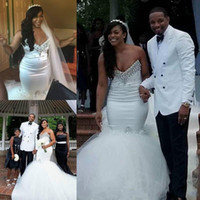Wholesale east african wedding dresses online - Elegant Crystal African Mermaid Wedding Dresses Sweetheart Beads Plus Size Tulle Middle East Arabic Country Bridal Gown Bride Dress Custom
