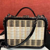 Wholesale leather evening bags resale online - 2019 Hot Sell Fashion Designer Women Handbags Lady Evening Bags Rattan Weave Box Handbags Chain Crossbody totel Bag Two tone Shoulder Bags