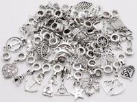 laiton sud achat en gros de-100pcs / lot Vintage Grand Trou Perles En Vrac Pendentif Européen fit Pandora Charmes Bracelet DIY Métal fabrication de bijoux