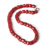 ingrosso corallo di pietra semi preziosa-Naturale corallo rosso 11 * 10mm nuovo irregolare semi-preziosa pietra cubo abacus rondelle perline fai da te collana gioielli fatti 20 pollici