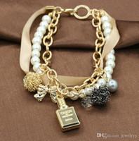 parfüm armbänder großhandel-Multi Layer Perlenkette Armband Elegante Perle Kristall Bowknot Hohlkugel Parfüm Flasche Charme Armbänder Armreif Schmuck für frauen Geschenk