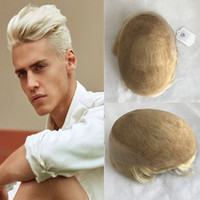 Wholesale blonde toupee for sale - Group buy 613 Human Hair Men Toupee French Lace Toupee For Men x8 Blonde Lace Front With Poly Hairpieces Replacement System Men Hair Free Style
