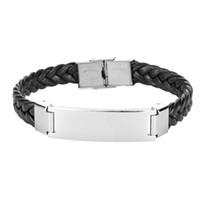 bracelet garcon achat en gros de-1 Pc Homme Bracelet Créatif En Acier Inoxydable Personnalité Poignet Cercle En Cuir Tissé Corde Chaîne De Poignet pour Garçons Filles Adolescents