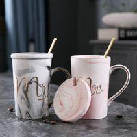 Marble Flamingo Pattern Ceramic Mugs Gold Plating MRS MR Couple Lover's Gift Morning Mug Milk Coffee Tea Breakfast Creative Cup