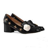 büyük bayan yüksek topuklu ayakkabılar toptan satış-Yüksek topuklu ayakkabılar 2019 Otantik inek derisi Klasik tek ayakkabı Metal Düğme Tasarımcı Lüks Bayanlar ayakkabı Kaba topuk 5 cm Büyük boy Yıldız arı