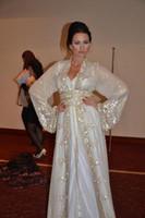 Wholesale side split bling evening dress resale online - 2020 Muslim Dubai Kaftan Evening Dresses Lace V Neck Long Sleeve White Crystal Beaded Bling sparkly sequined Arabic style Formal Prom Gowns