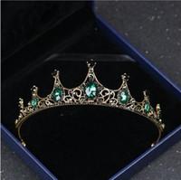 diamant de mariage diadème vintage achat en gros de-Femmes Vintage Baroque Reine Couronne Cheveux Tiara Filles Princesse Fête De Mariage Vert Diamant Accessoires de Cheveux Bijoux