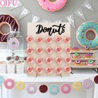 Mesa De Dulce De Baby Shower.Qifu Donut Wall Holds Candy Carro Dulce Rustico Decoracion De Boda Mesa De Madera Decoracion De Boda Fiesta De Cumpleanos Decoracion Baby Shower