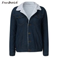 straußenpelze großhandel-Free Ostrich Winter Fur Jeansjacke Damen Bomberjacke Langarm Washed Blue Jeans Mantel Warm Front Button N30