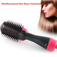 Wholesale hot tools curling irons resale online - 2 In Multifunctional Hair Dryer Volumizer Rotating Hot Air Brush Curling Iron Rotating Hairdryer Comb Styling Tools DropShip