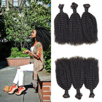 Wholesale human braiding hair weft free for sale - Group buy Cheap Afro Kinky Human Braiding Hair Bulk No Weft Natural Color Can Be Dyed G EASY