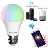 controle wb rgb branco venda por atacado-Energy Saving multifuncional Lâmpada RGB + lâmpada branco quente WIFI Smart LED Luz TQQ Voice Control Trabalho Com Alexa Night Light Bulb BH1183