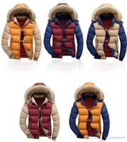 rote pelzmantel herren großhandel-Mens Abnehmbare Animal Fur Hat Jacken Kurz Länge Warme Mäntel Khaki Blau Rot Kontrast Farben Oberbekleidung