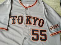 números do japão venda por atacado-Personalizado Hideki Matsui Yomiuri Giants Sadaharu Oh Japão Camisa De Beisebol Costurado Novo Cinza Qualquer Nome Qualquer Número