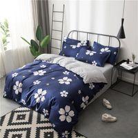 funda de almohada floral azul al por mayor-Conjuntos de ropa de cama de flores de cerezo blanco Chicas Niños Adolescentes Azul marino Cubiertas nórdicas Fundas de almohada Sábanas de rayas Ropa de cama floral