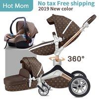 rodas dobráveis dos navios venda por atacado-Hot Mom 3 em 1 Luxury Baby Stroller alta Paisagem 2 em 1 dobráveis Luz Quatro Rodas bebê Pram CE presentes padrão transporte livre