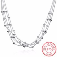 цепь змеиного шара оптовых-LEKANI Women Fine Jewelry 925 sterling silver 18'' Five lines  snake chain Charm Balls Multilayer Necklaces collares