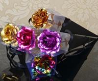 tarjetas de bicicleta envío gratis al por mayor-Romántico 24 k hoja de oro plateado rosa decoración de la boda oro rosa oro flor artificial sumergida personalizada c251