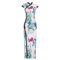 chinês longo cheongsam mais tamanho venda por atacado-Plus Size 5XL Estilo Chinês Do Vintage Imprimir Qipao Longo Handmade Botão Cheongsam Vestido das Mulheres Colarinho Mandarim Vestido Tradicional