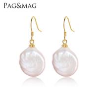 ingrosso monili barocco alto-PAGMAG Marchio di vendita calda 925 orecchini in argento sterling per le donne di alta qualità barocca perla gioielli grande formato perla orecchino di goccia