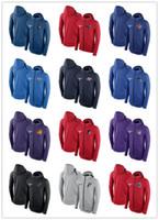 Wholesale hoodie windproof resale online - 2019 NEW Men s New Y Knicks Blue Showtime Therma Flex Performance Full Hoodie