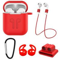 capa iphone silicone venda por atacado-Capa de silicone de cor sólida para iphone airpods com alça de pescoço suporte de alça anti-perdida para air pods ganchos de fone de ouvido DHL livre