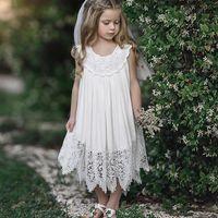vestidos de noiva cortados na princesa venda por atacado-Roupas de verão novas crianças vestidos de noiva para princesa corte cinderela dress bebê meninas lace fada charme crianças