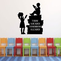 Wholesale decoration books resale online - Boy Girl Reading Books Vinyl Wall Decal Decoration Today A Reader Vinyl Sticker Quote for Schools Libraries Classroom Mural
