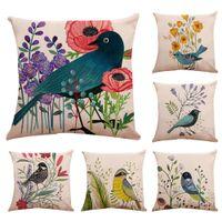 Wholesale blue bird pillow cover resale online - Home Decor Vintage Birds Series Cotton Linen Throw Pillow Case Cushion Cover Pillowcase For Home Bed Decoration Cushion D