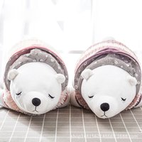 rosa blaue bärenkarikatur großhandel-TPFOCUS 52 * 20 * 17 cm Niedlichen Cartoon Bär Form Plüschtier Weiche Kinder Schlafen Rückenkissen Niedlichen Ausgestopften Bären Baby Begleiten Puppe Geschenk