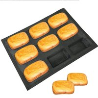 Wholesale loaf bakeware resale online - 9 Cavity Black Porous Silicone Mold Square Bread Eclair Mould Long Loaf Muffin Tray Non Stick Bakeware baking tools
