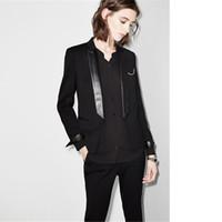 traje de smoking negro para damas al por mayor-Pantalón negro traje Ropa de trabajo elegante Trajes de negocios para mujeres Damas Diseños de uniformes de oficina Esmoquin para mujer Trajes de pantalón femenino