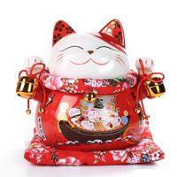 niedliche hochzeit handwerk großhandel-handwerk ornament 10 zoll Keramik Maneki Neko Fortune Cat Dekoration Porzellan Ornamente Nette Glückliche Katze Spardose Fengshui Handwerk