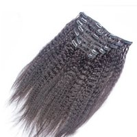 Wholesale chinese remy kinky straight hair resale online - Cheap Human Hair Clip In Remy Extensions set g Kinky Straight Indian Clip In Hair Extensions set