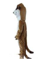 ingrosso grandi costumi della mascotte della testa-2018 Alta qualità calda la testa un costume da mascotte marrone scoiattolo sottile con grandi occhi in vendita