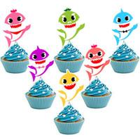 ingrosso torte di compleanno cartoni animati-Carta di torta di squalo torta animale toppers 6 pz / set cartone animato cupcake inserti scheda compleanno bambino squalo decor bambini rifornimenti del partito gga1949