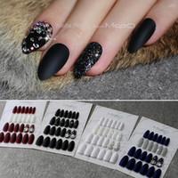 кристаллы ложных ногтей оптовых-Стилет матовый черный блеск накладные ногти Кристалл полный комплект Дизайн салона синий поддельные ногти Красный настраиваемый логотип миндаль белый