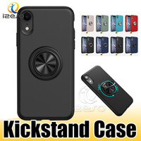 gel telefone titular venda por atacado-Para iPhone New XS MAX XR X 8 7 6 Plus Silicone Kickstand Phone Case de Metal Anel Titular GEL TPU tampa traseira izeso