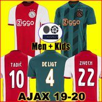 erkek minibüsü toptan satış-19 20 AJAX FC futbol forması 2019 2020 DE JONG TADIC DE LIGT ZIYECH VAN BEEK NERES erkekler çocuklar kitleri şampiyonlar futbol gömlek üniforma uzakta