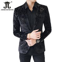 entworfene anzüge für männer zurück groihandel-Schwarzer Samt Blazer Herren Luxus Anzug Jacke Slim Fit Business Design Blazer Mantel Jacquard Tiger Muster Center Back | Größe 48-60