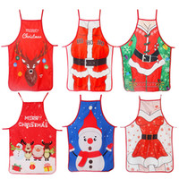 Wholesale new style aprons for sale - Group buy Fabric Printing Apron Christmas Decoration Cartoon Style Dress Color Printed Santa Claus Deer Pattern Aprons New Arrival mz L1