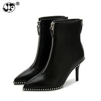 sexy botas de strass blanco al por mayor-Nuevas mujeres sexy botas remache Rhinestone Zip tacones altos botas Lady Stiletto dedo del pie puntiagudo botines Martin bota rojo blanco negro gg8