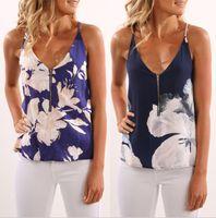 fermuar halter üstleri toptan satış-Kadınlar Çiçek Fermuar Kolsuz Halter Üst Yaz Moda Baskılı Tank Camiş Yelek T Shirt Bluzlar LJJO6446