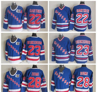 camisa de hóquei v venda por atacado-New York Rangers Hockey Jerseys 22 Mike Gartner 28 Tie Domi 23 Jeff Beukeboom Home Royal V Neck 91-92 75º Aniversário azul Jersey