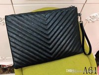 Wholesale hard line phone online – custom Classic leather black hand embroidered V line sale new ladies versatile clutch bag handbag messenger