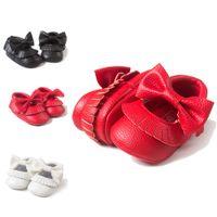 кроссовки для девочек оптовых-Newborn Baby Girl Bowknot Hook loop Tassels PU Leather Shoes Toddler Soft Sole Anti-slip Sneakers Sweet Girl Princess Crib Shoes
