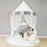 складной тент для навеса оптовых-150cm Big Play House Teepee Tent for Kids Baby Cotton Bed Tent Canopy Foldable Crib indoor Toys for Children Birthday Gift