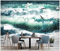 ingrosso paesaggio surf-Carta da parati personalizzata per pareti 3 d carta da parati murale Disegnata a mano mare paesaggio gabbiano surf tv sfondo muro dipinto carta da parati home decor