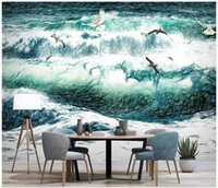 Wholesale surfing decor resale online - Custom photo wallpaper for walls d mural wallpaper Hand drawn sea landscape seagull surf tv background wall painting wall paper home decor
